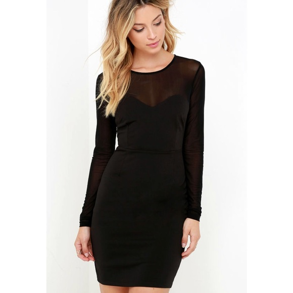 Lulus Dresses Lulus Black Long Sleeve Sheer Top Bodycon Dress